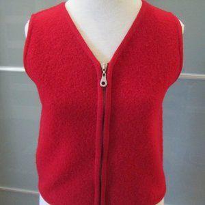 Vintage Red Full Zip 100% Wool Vest